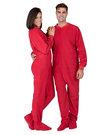 Amazon.com: Footed Pajamas Bright Red Adult Fleece: Clothing