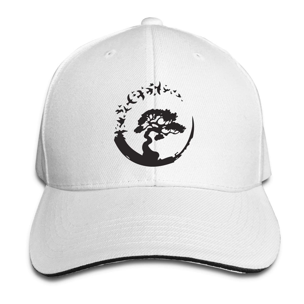 Bonsai Tree in Enso Circle Birds Outdoor Snapback Sandwich Cap Adjustable Baseball Hat Trucker Cap