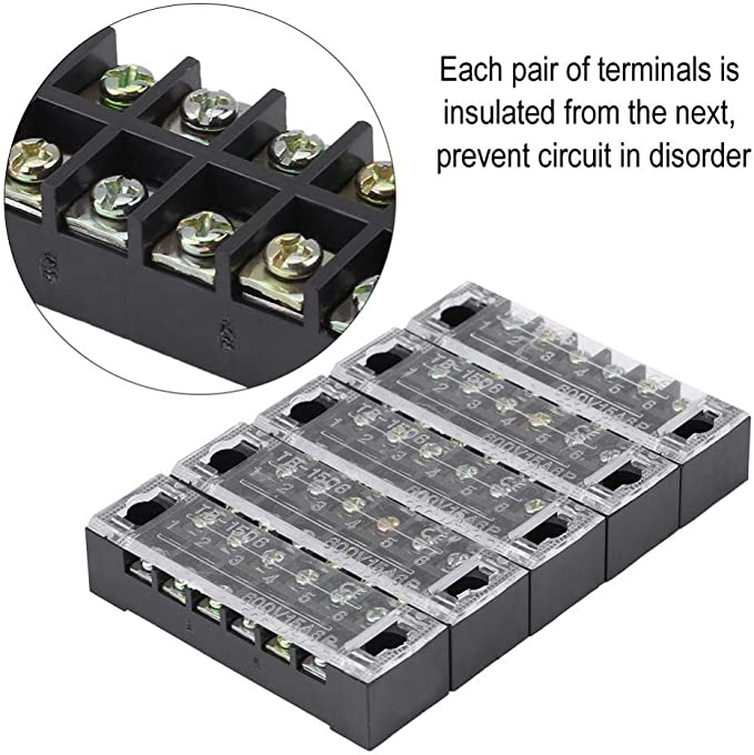 Kimiss Screw Terminal Block 5pcs Zweireihige 6 Positionen 600v 15a Schraubklemme Vorisolierte Terminal Barrier Strip Auto