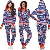 FANOUD Ladies Christmas Print Women Long Sleeve Pyjamas Performance Suit Hooded Siamese Pants Suit Jumpsuit
