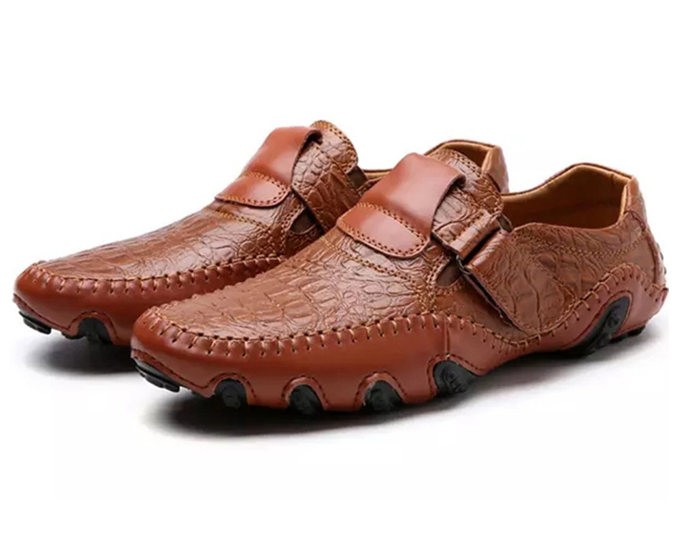 SZAWSL Herren Leder Schuhe Slipper Elegant Flache Loafers Bootsschuhe Derby  E U 40|Braun