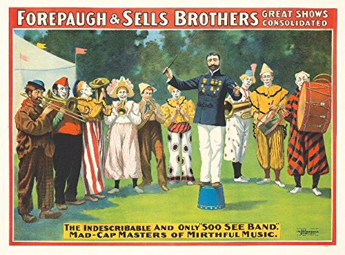 Forepaugh and Sells - Soo See Band Vintage Poster (artist: Anonymous) USA c. 1900 (9x12 Art Print, Wall Decor Travel Poster)