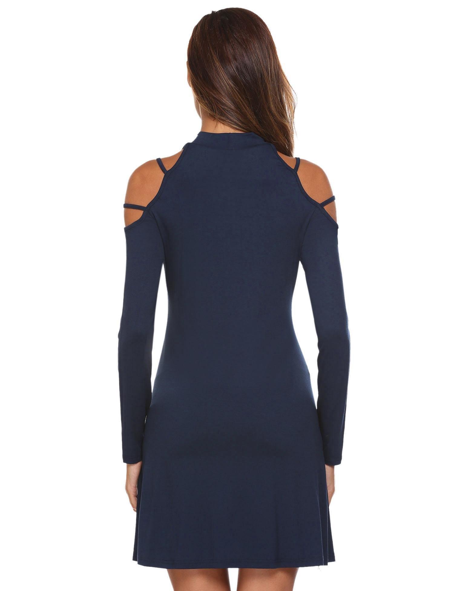 Misakia Women's Summer Cold Shoulder Tunic Top Swing T-Shirt Loose Dress (Navy Blue XL) by Misakia (Image #5)