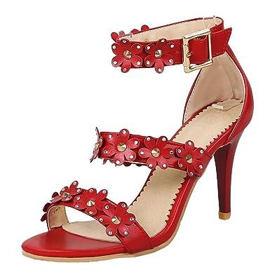 YE Damen Ankle Strap Stiletto Sandalen mit Blumen 8cm Absatz High Heels Pumps Sommer Hochzeit Braut Abend Schuhe