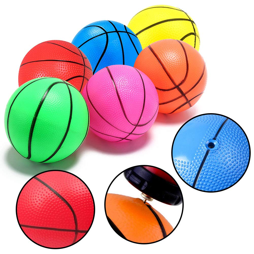 Shindel 4.7 inches Mini Toy Basketball, 6PCS Basketball for Toddlers, Colorful Kids Mini Toy Basketball Rubber Baketball for Kids, Teenager Basketballs, with Pump