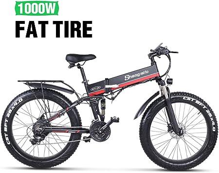Shengmilo Bicicletas Electricas Plegable Bicicleta e-Bike Montaña Electrica e Bike Ciudad Electrica Adulto Hombre 1000W 26 Pulgadas* 4.0 Fat Neumático Shimano 21 Velocidad Frenos de Disco Hidráulicos: Amazon.es: Deportes y aire libre