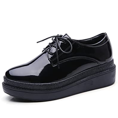 ae5413b466b5 HKR-CBC11heise35 Women Lace Up Platform Wedge Oxfords Fashion Sneakers  Shoes Black 5.5 M US