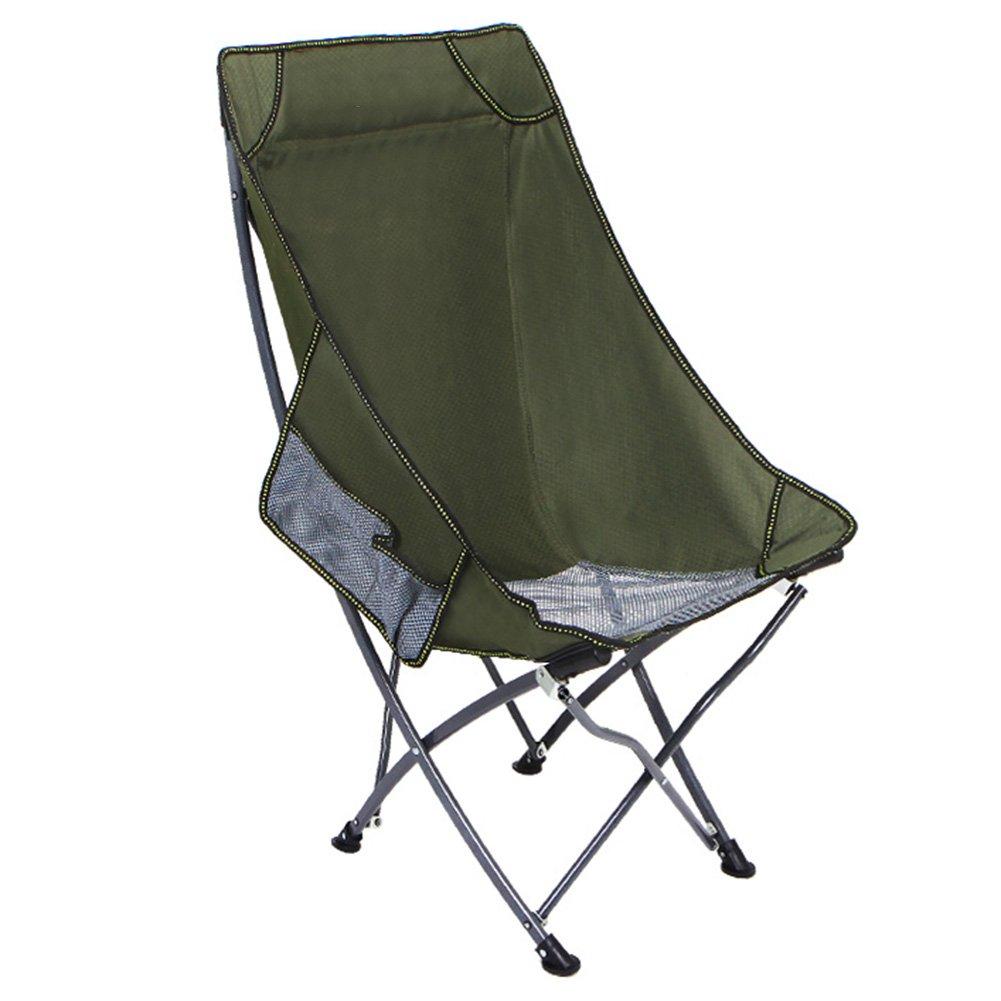 ZGL Outdoorsアウトドアポータブル折りたたみ椅子背もたれ釣り椅子スツールカジュアルビーチRecliners Lunch Break椅子  アーミーグリーン B07D6P69S7