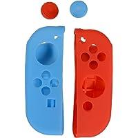 OYESS Funda de Silicona para Joycon Agarre Antideslizante Piel Cobertora 4-1 Par/4 Uds Rojo y Azul - D/I con Tapones para Joysticks de Pulgar para Mandos Joy con de Nintendo Switch de