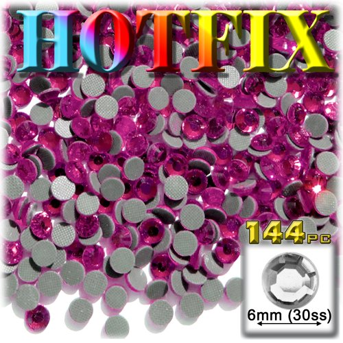 Rose Pink Glass Rhinestones - 144pc Superior quality glass DMC HOTFIX Rhinestones Round 6mm (30ss) Hotfix rhinestones Hot Pink or Rose HPK