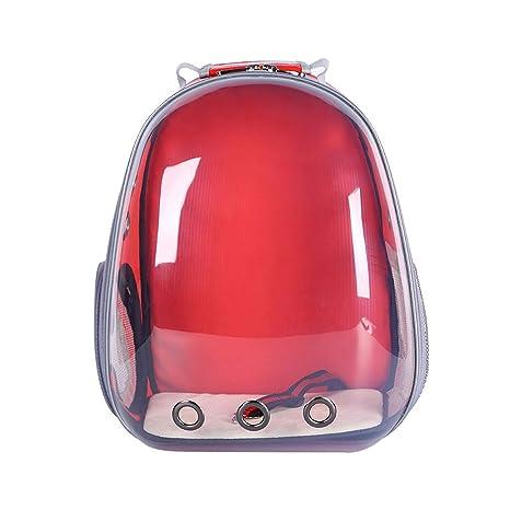 Mochila para Mascotas con Espacio panorámico Transparente Mochila portátil para Perros y Gatos (Red)