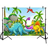MEHOFOTO Photo Backgroud Cartoon Dinosaur Themed Children Kids Birthday Party Backdrops for Photography 7ftx5ft