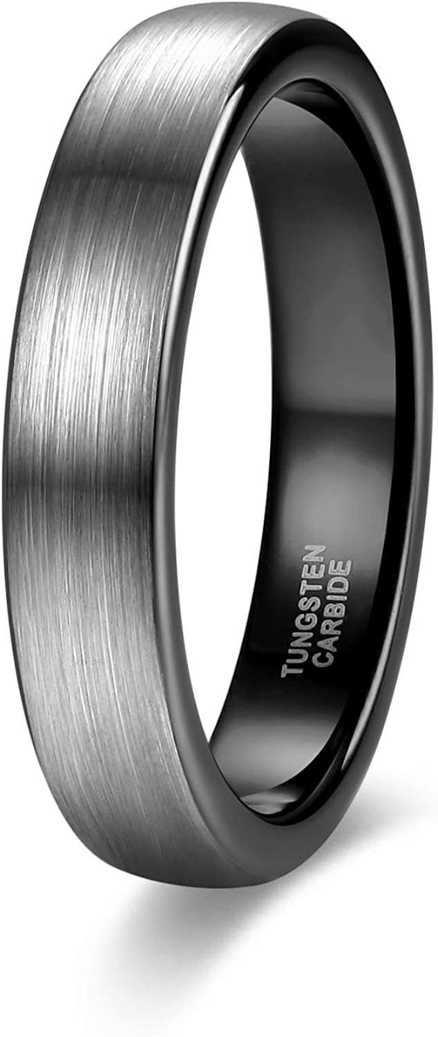 TRUMIUM 8mm Mens Tungsten Wedding Rings Rose Gold//Black//Blue Wedding Band High Polished Beveled Edge Comfort Fit Size 7-13