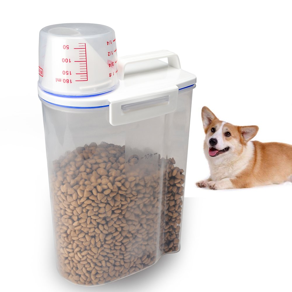 TIOVERY Pet Food Storge Container Dispenser for Dogs Cats Birds