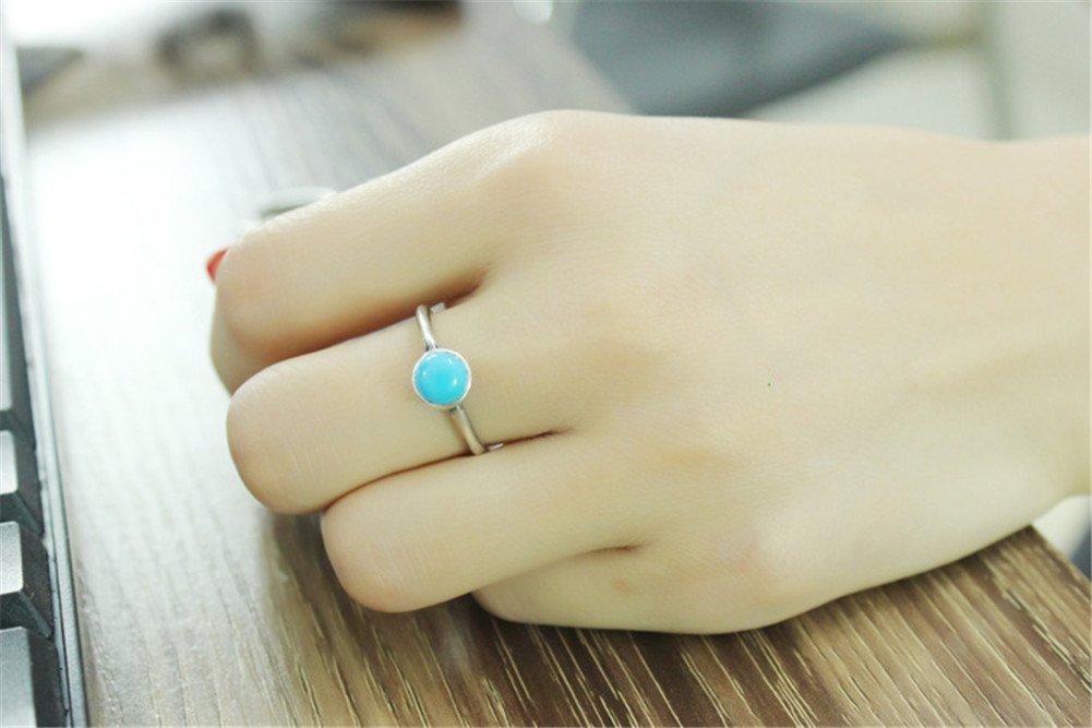 2aca0cbe2c9e Scrox Anillo retro coreano viejo ágata negro turquesa anillo mujer joyas