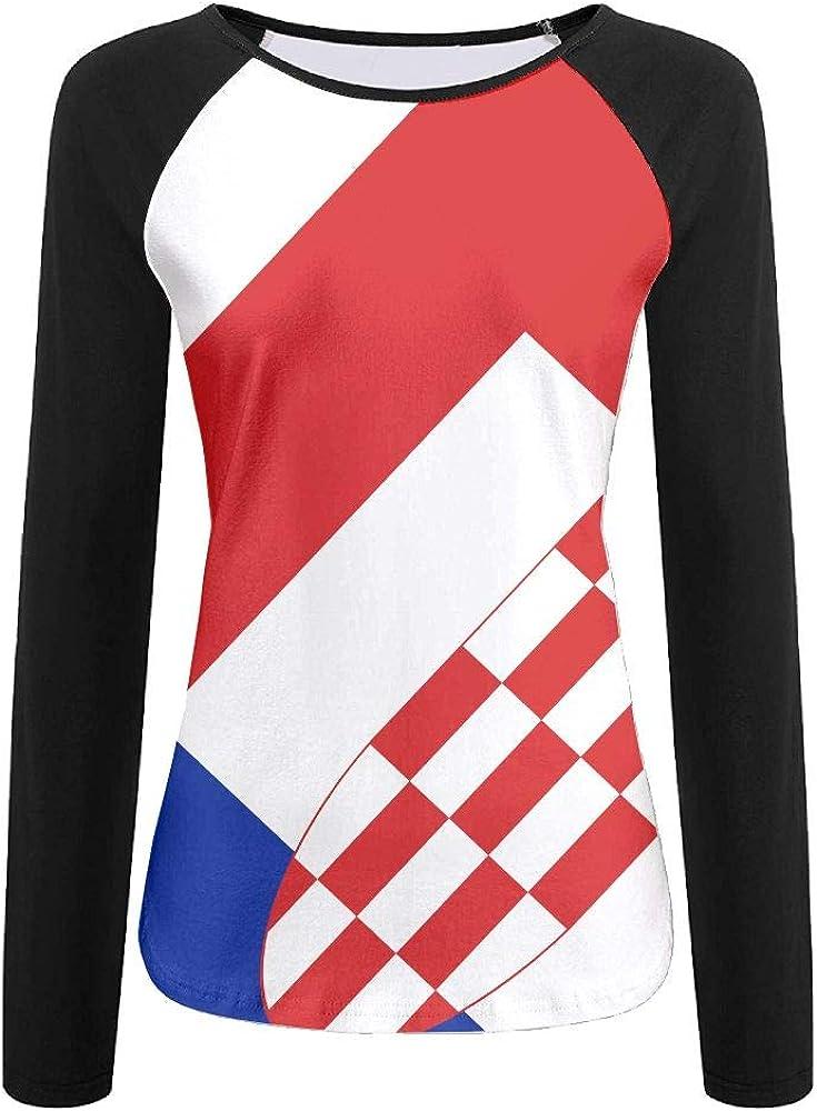 WANING MOON Womens Long Sleeves Croatian Flag and French Flag Baseball Tshirts Printing Tee Sports Raglan T-Shirt