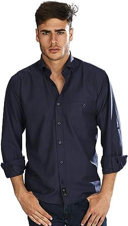 Camisa Oxford Manga Larga de Hombre en Marino - 8_4XL, Azul Marino: Amazon.es: Ropa y accesorios