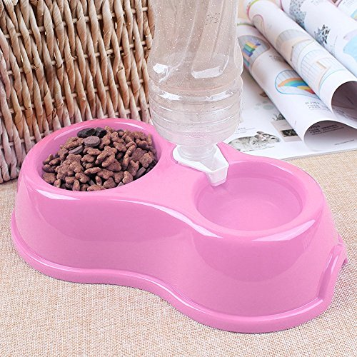 chic Quno Plastic Portable Puppy Dog Cat Automatic Drinking Water Food Feeder Double Pet Bowl