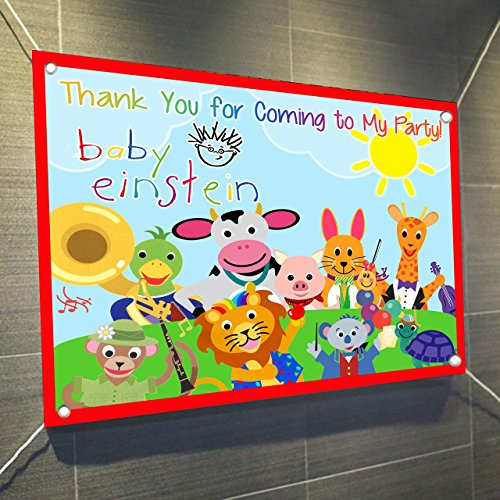 "Baby Einstein Large Vinyl Indoor or Outdoor Banner Sign Poster Backdrop, party favor decoration, 30"" x 24"", 2.5"
