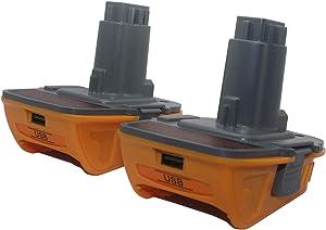 DCA1820 Battery Adapter for Dewalt 18V to 20V Tools Convert for Dewalt 18V NiCad & NiMh Battery Tools DC9096 DW9096 DC9098 DC9099 DW9099(USB Converter) (2 Pack)