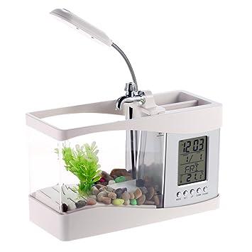 Anself Mini USB LED Acuario de peces de LCD pantalla con reloj tanque de peces para la decoración de la oficina del hogar: Amazon.es: Hogar