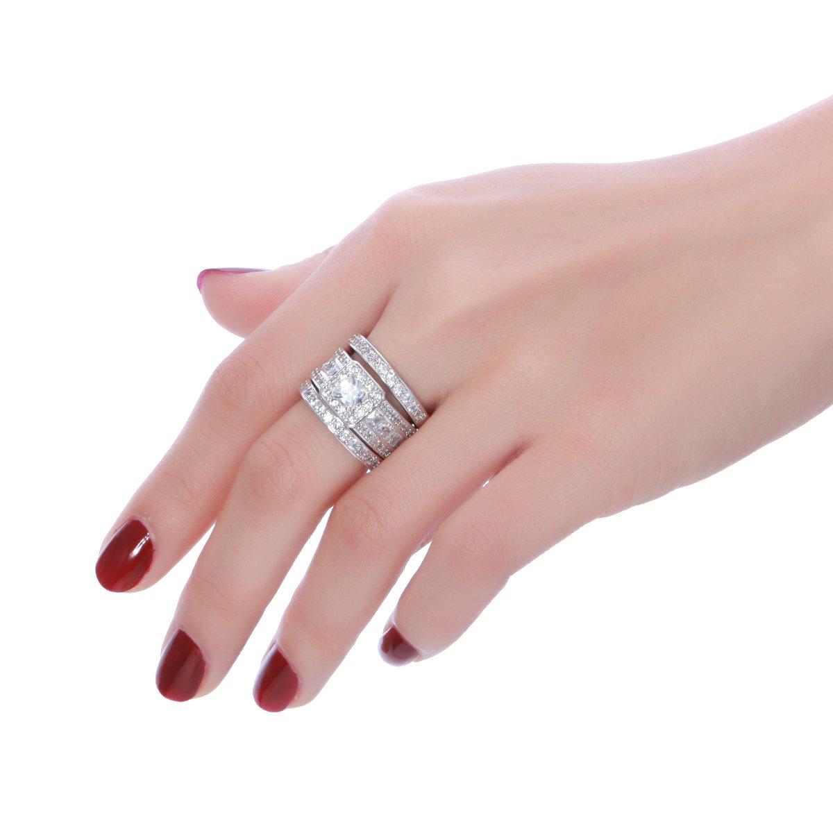 Amazon.com: Princess Cut Wedding Rings Set - Square Cluster CZ ...