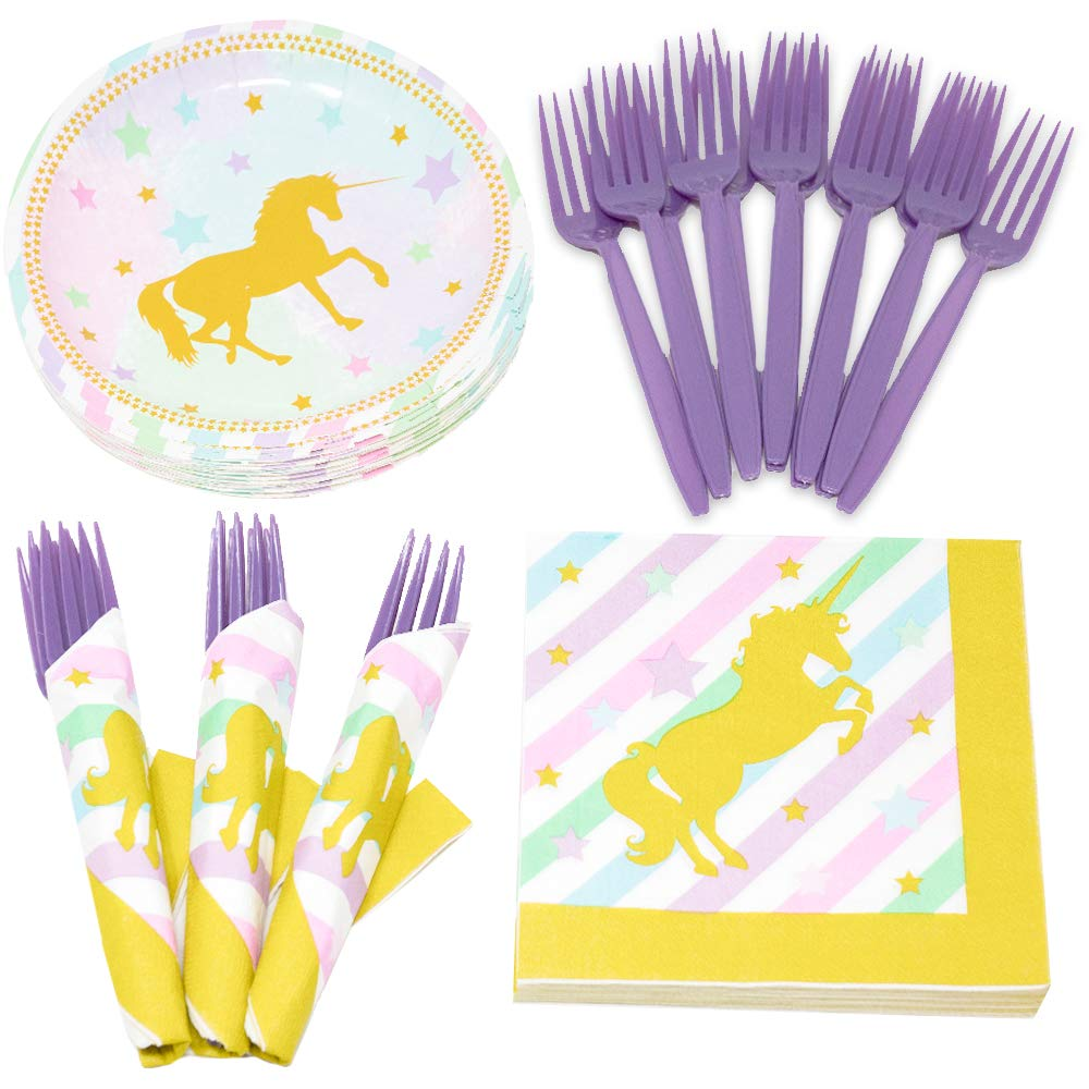 Golden Unicorn Value Party Supplies Pack (58+ Pieces for 16 Guests ...