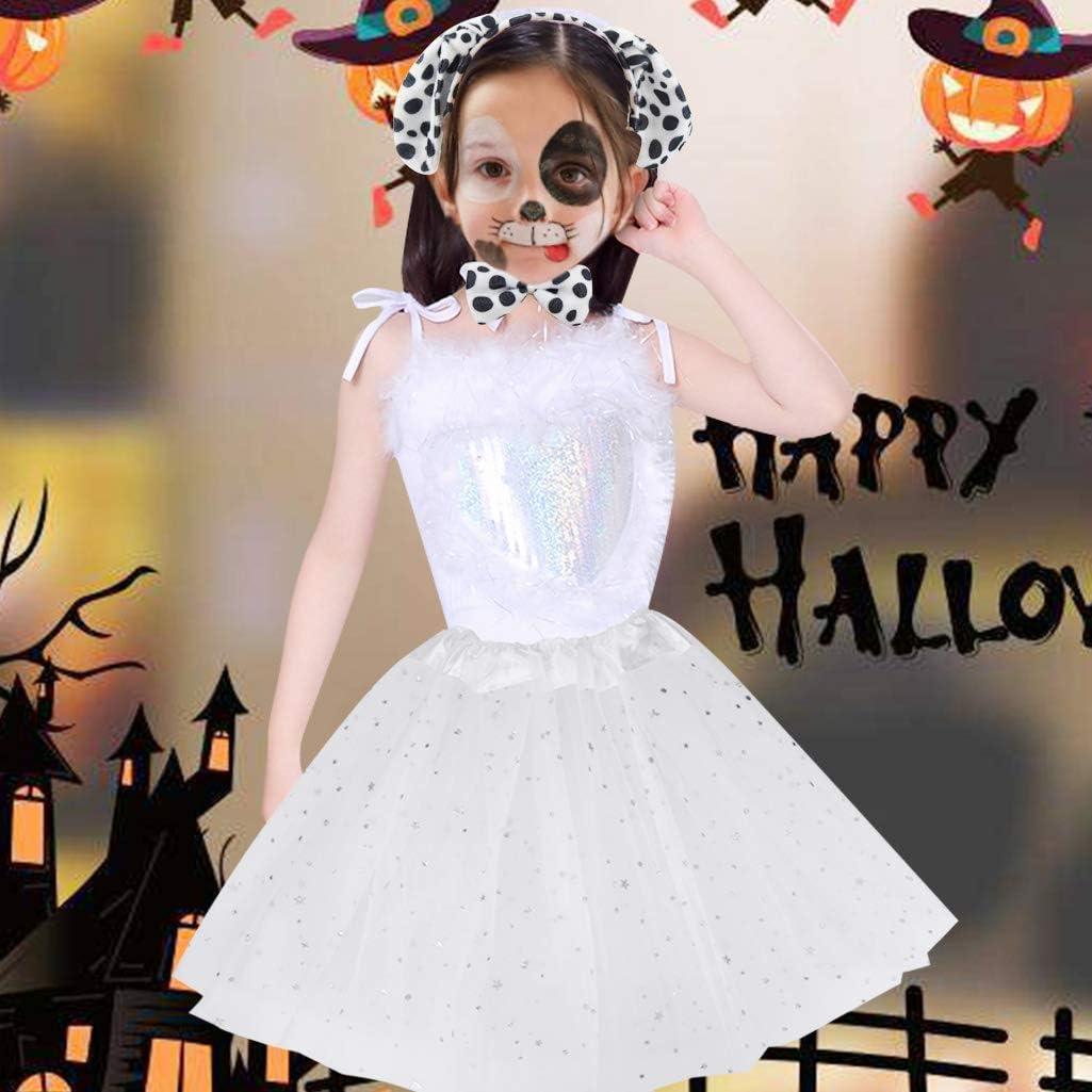 Dxhycc Dalmatian Costume Set Dog Ears Headband Bowtie Tail Tutu for Kids Girls Halloween Costume Cosplay Party White