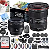 Canon Advanced Two Lens Kit with EF 50mm f/1.4 USM and EF 17-40mm f/4L USM Lenses 64GB Memory Card Deluxe Filter Set Pro Accessory Bundle
