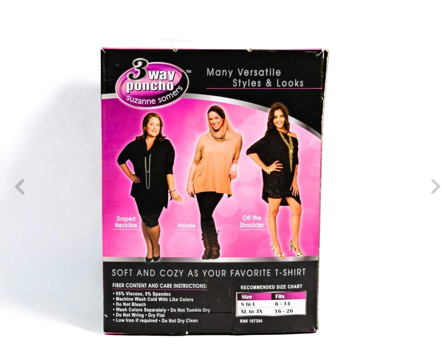 Suzanne Somers 3 Way Poncho AS SEEN ON TV Can be worn three ways Black (Small - Large)