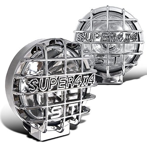 "Spec-D Tuning LF-6022CRNDCR Round 6"" Chrome Work Fog Lights Pair w/ 4x4 Protective Guard, H3 Bulbs"