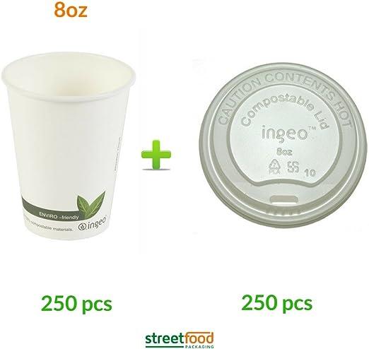 Vaso carton de café biodegradable desechable de 240ml 8 onzas con ...