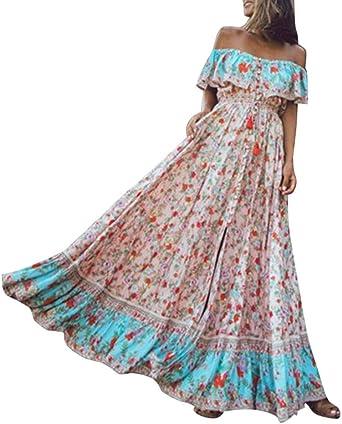Finebo Robe Longue Boheme Fleurie Imprime Femme Robes A Sans Manches Robes De Plage D Ete Vintage Robe Longue Causal Rose M Amazon Fr Luminaires Et Eclairage