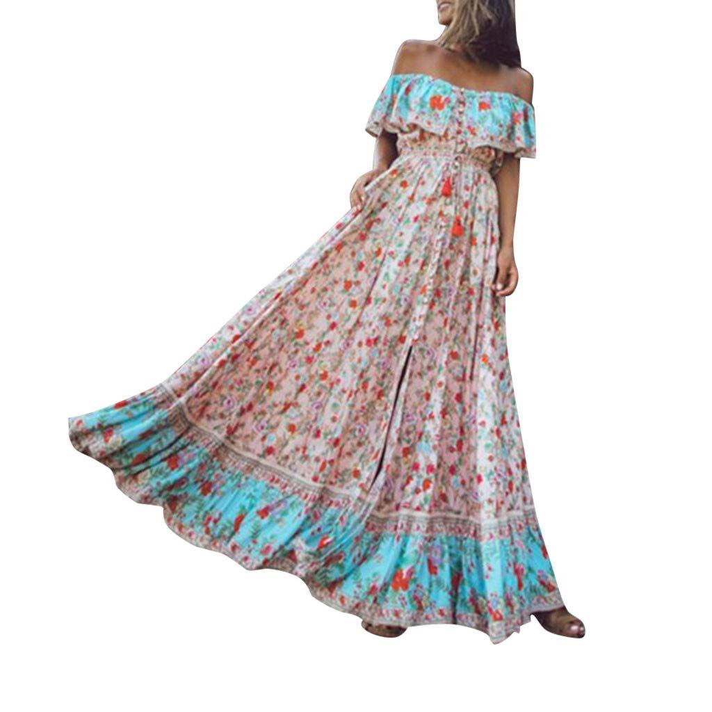 TOTOD Dress - Women's Summer Bohemian Printed Floral High Waist V-Collar Flounce Chiffon Beach Long Dresses Sundress Pink