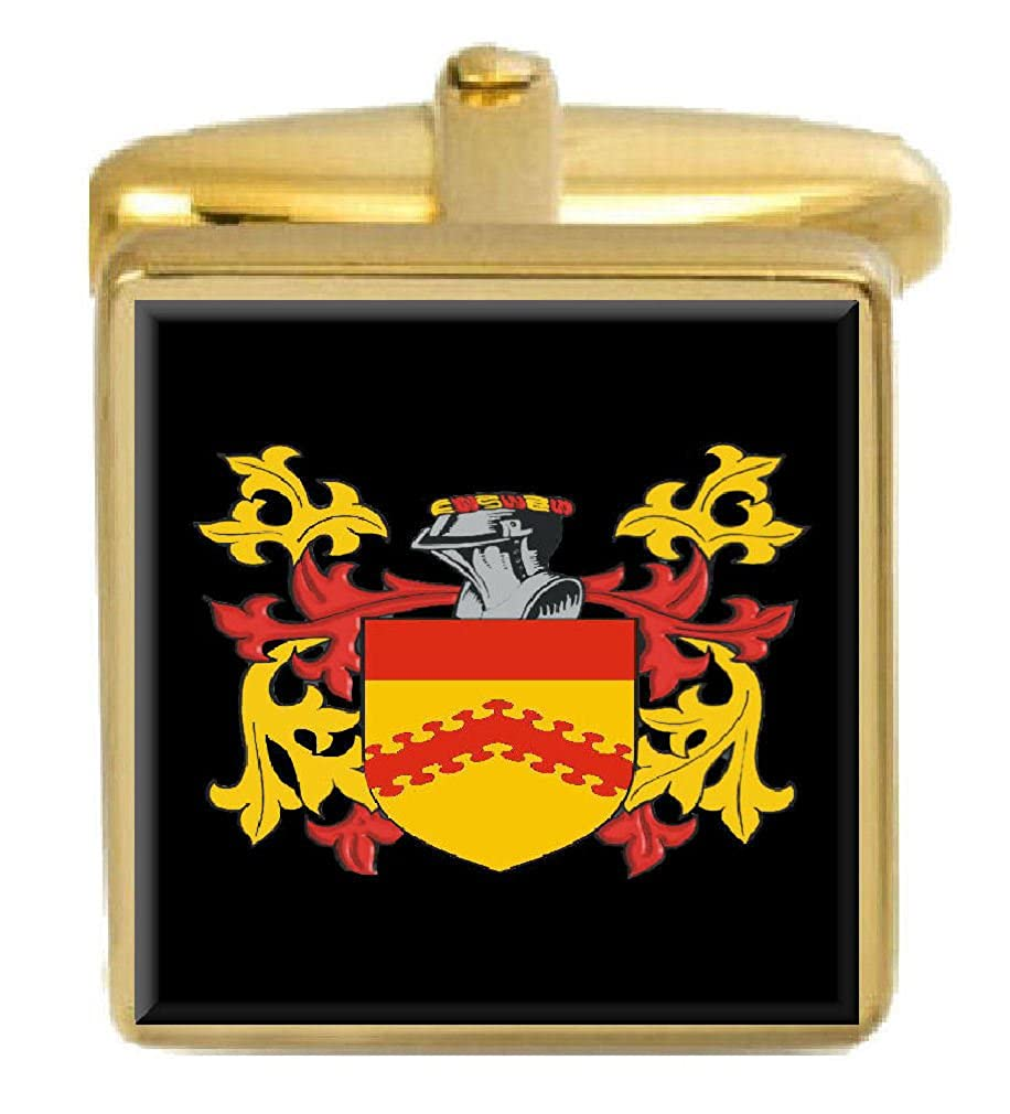 Select Gifts Shiers England Family Crest Surname Coat Of Arms Gold Cufflinks Engraved Box