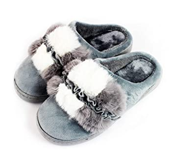 Zapatillas de Andar por Casa Talón Abierto con Borreguillo Forro Polar y Suela Ancha Antideslizante Tallas 36-41 Mujer (GRIS, 37): Amazon.es: Hogar