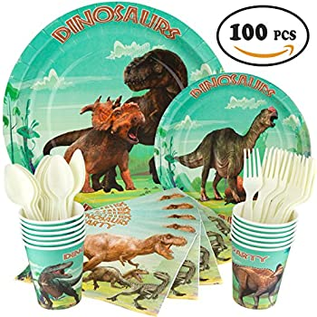 Dinosaur Party Supplies - Dinosaur Party Pack 16 Guests - Dinosaur Party Cups Napkins Forks Spoons Paper Dinner Dessert Plates u2013 Boys Girls Kids Theme ...  sc 1 st  Amazon.com & Amazon.com: Dinosaur Party Supplies and Favors - 16 Guest - Big and ...
