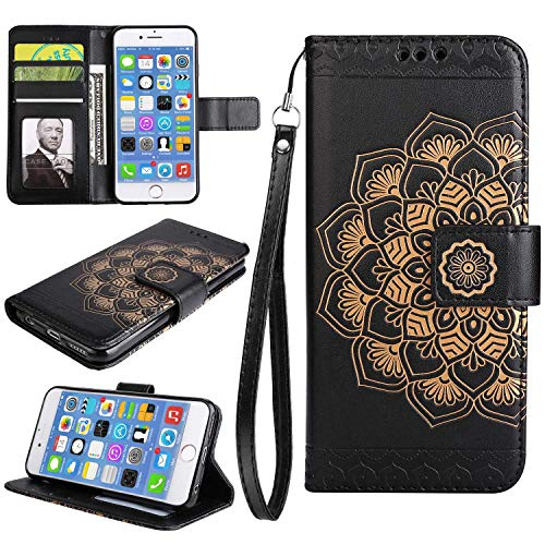 Galaxy S9 Case, Bear Village Leather Wallet Cover, Anti-Scratch Embossing PU Case with Magnetic Closure and Card Slots for Samsung Galaxy S9 (#9 Black) by Bear Village (Image #7)