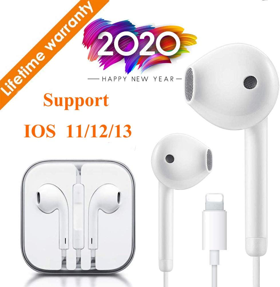 Lighting Connector Earbuds Earphone Wired Headphones Headset with Mic and Volume Control,Quick Linking,Compatible with iPhone 11 Pro Max//Xs Max//XR//X//7//8 Plus Plug and Play Signal Boosters