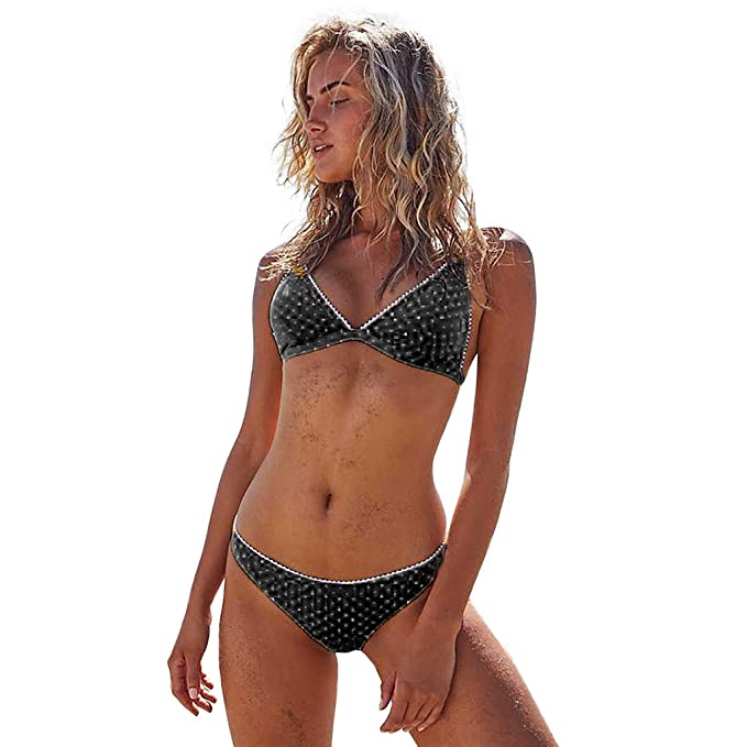 b52d5797ab Funic Blouse Sexy Womens Dot Printed Bikini Set Swimwear Beach Swimsuit  Monokini(Black,S