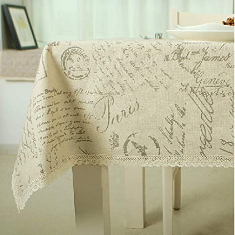 JITIAN Cartas rectangulares Mantel de Lino de algodón Cena ...