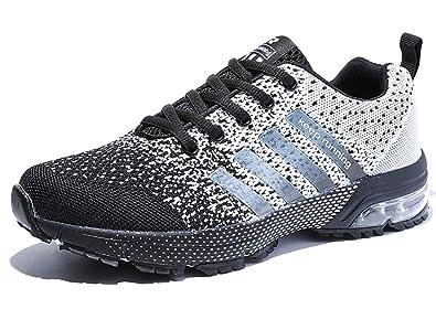 Damen Herren Laufschuhe Sportschuhe Turnschuhe Trainers Running Fitness Atmungsaktiv Sneakers(Weiß Schwarz,Größe 47)