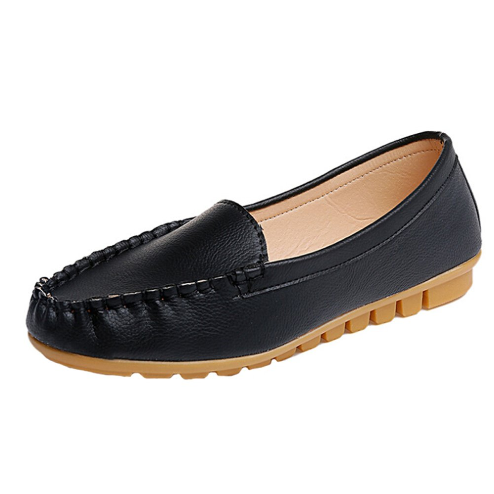 Angelliu Women Casual Soft Leather Ballets Flats Spring Autumn Slip-on Comfy Work Shoes Black