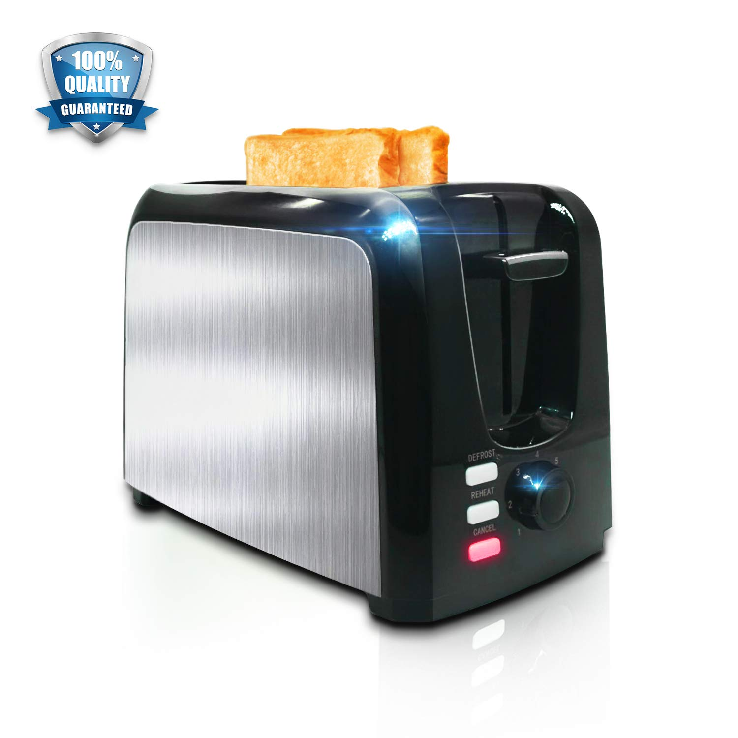 Toaster Toasts Evenly And Quickly│2 Slice Toaster With Bagel Defrost Cancel Function│Compact Black Stainless Steel Toasters 2 Slice Best Rated Prime Top With 7 Shade Bread Setting, Extra Wide Slot