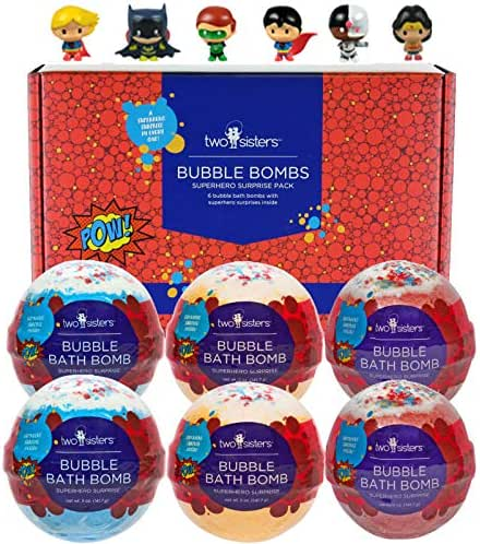 Superhero Bubble Bath Bombs for Kids with Surprise Toys Inside by Two Sisters Spa. Large 99% Natural Fizzies in Gift Box. Moisturizes Dry Sensitive Skin. Releases Color, Scent, and Bubbles.