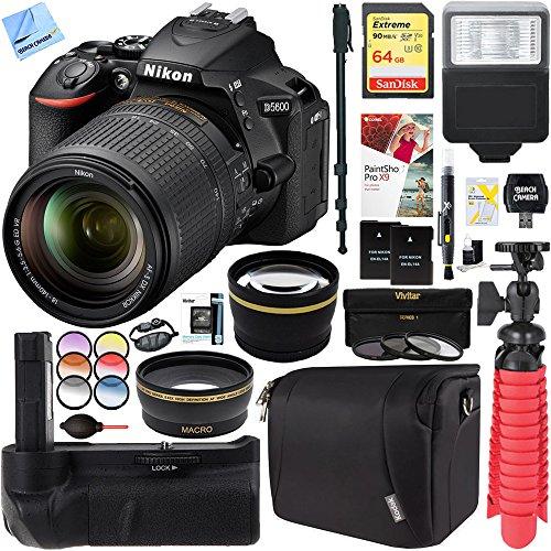 Nikon D5600 24.2 MP DX-Format DSLR Camera with AF-S 18-140mm ED VR Lens Kit + 64GB Battery Grip Accessory Bundle by Beach Camera