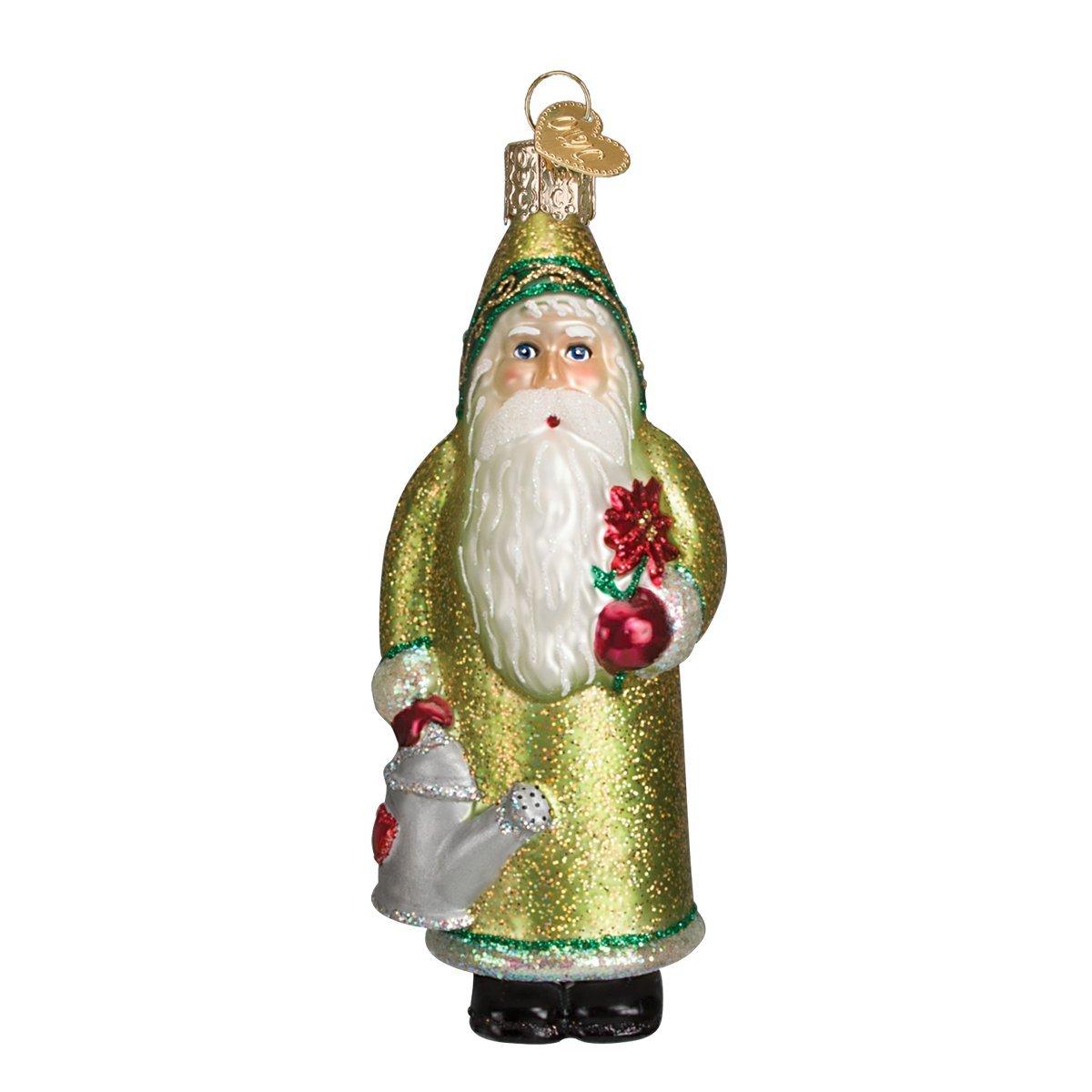 Old World Christmas Blooming Santa Glass Blown Ornament