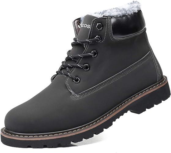 gracosy Bottes Hiver Hommes, Chaussures de Ville en Nubuck avec Fourrure Chaude Bottines de Neige Imperméable Boots Sécurité Doublure Fourrée pour