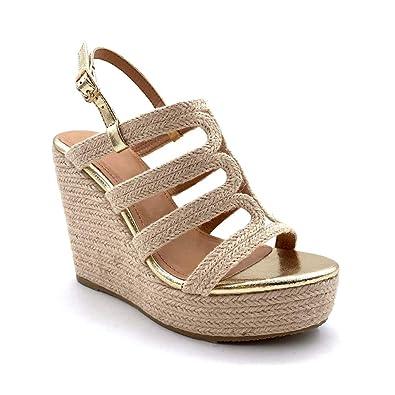 Mode Ouverte Cm Tressé Sandale Mule Chaussure Talon 12 Plateforme Femme Brillant Angkorly Compensé jSVUzMGqpL