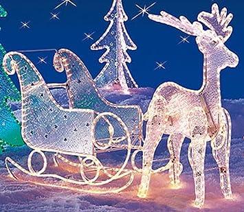 Leuchtende Weihnachtsdeko Außen.Großer Beleuchteter Schlitten 80cm Weihnachtsdeko Auch Für Außen